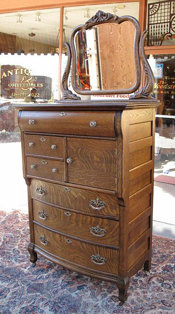 Antique Quartersawn Oak Hat Box Highboy Dresser