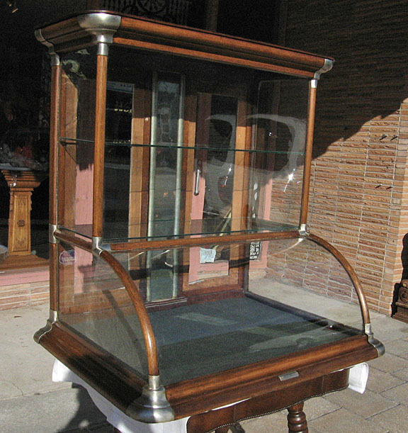 Oak Country Store Curved Glass Tower Display Case