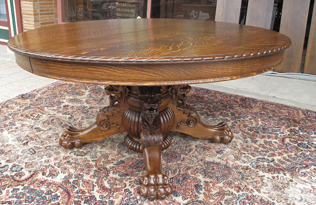 Hastings Antique Oak Dining Table with Lion and Claw Feet  : fo1 29 0aHastingsdiningtable from bradfordsantiques.com size 648 x 420 jpeg 156kB