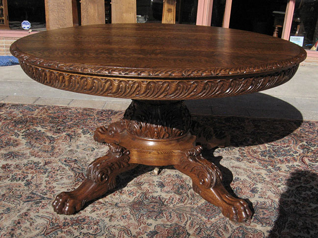 Quartersawn Oak Claw Foot Dining Table