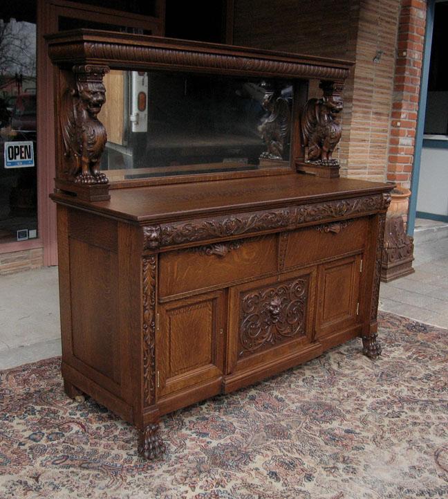 Rj Horner Winged Griffin Oak Sideboard