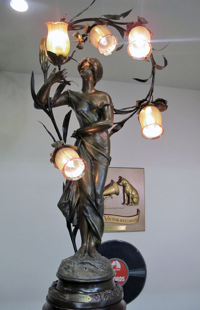Brossy Signed Art Nouveau Newel Post Lamp Entitled Quot Bonjour Quot