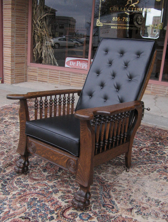 Quartersawn Oak Claw Foot Morris Chair